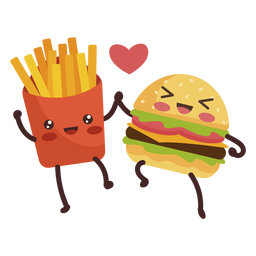 Burger fries holding hands