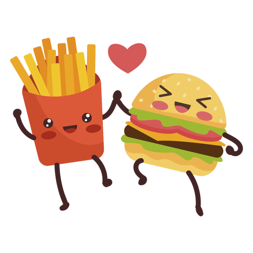 Burger fries holding hands Transparent PNG