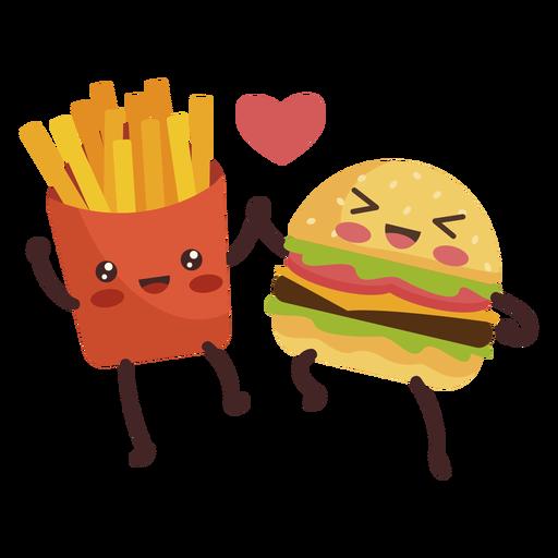 Burger fries holding hands