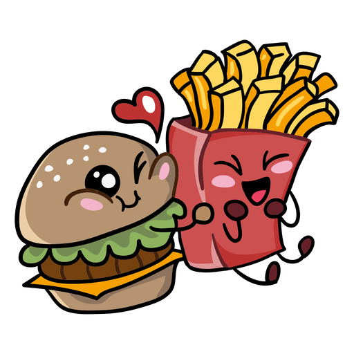 Hamburguesa papas fritas amor