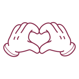Karikaturhände, die Herzschlag bilden