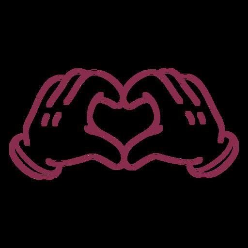Cartoon hands forming heart stroke