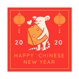 Ano novo chinês de rato de queijo