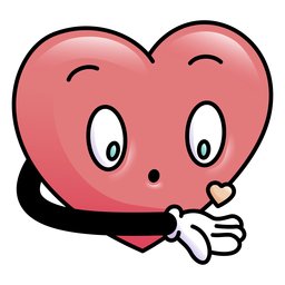 Coração colorido soprando pequeno coração