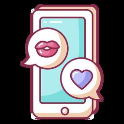 Celular colorido de mensagens de dia dos namorados