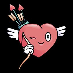 Corazón guiño de color con arco flecha