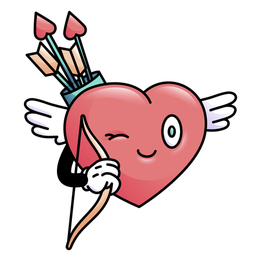 Colored winking heart with bow arrow Transparent PNG