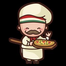 Lindo chef con pizza