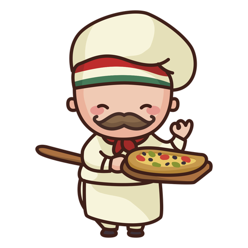 Cute chef with pizza