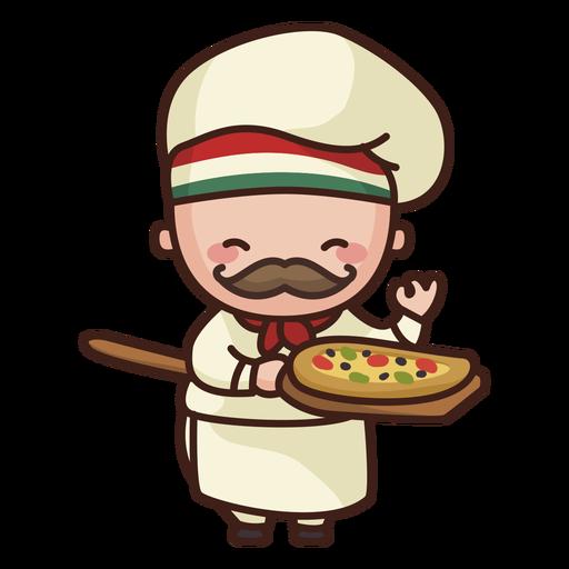Lindo chef con pizza Transparent PNG