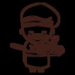 Chef bonito com curso de pizza