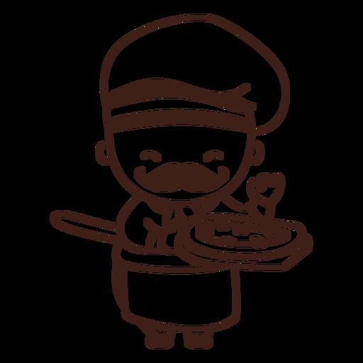Lindo chef con trazo de pizza