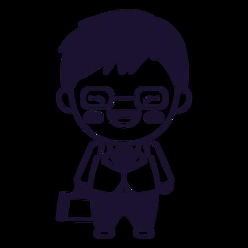 Cute japanese man suit stroke Transparent PNG