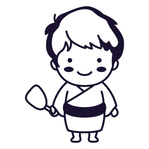 Cute japanese man traditional stroke Transparent PNG
