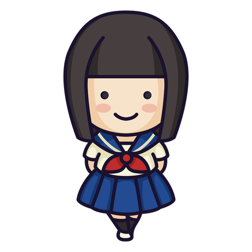 Cute japanese school girl Transparent PNG