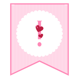 Cute love banner exclamation point