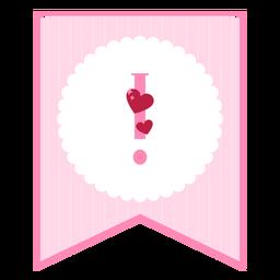 Lindo signo de exclamación de banner de amor