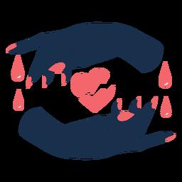 Manos envolviendo triste corazón roto