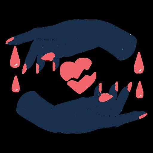 Manos que envuelven el corazón roto triste