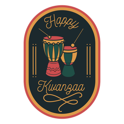 Happy kwanzaa badge drums