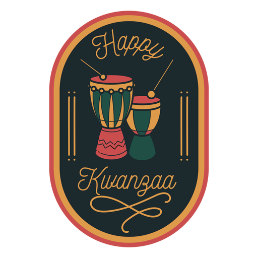 Happy kwanzaa badge tambores Transparent PNG