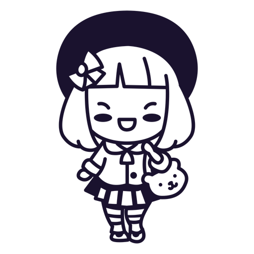 Kawaii japanese girl stroke Transparent PNG