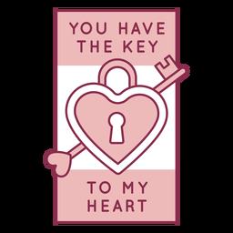 Chave para distintivo de coração