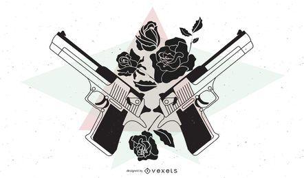 Vector de pistolas y rosas