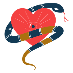 Olho de coração romântico de cobra
