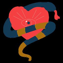 Serpiente romántica corazón ojo