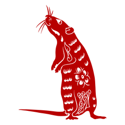 Rato de pé ano novo chinês