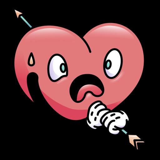 Coração surpreso tiro colorido