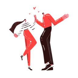 Tall couple high five each other