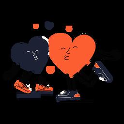 Two pouting hearts kiss