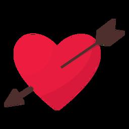 Dia dos namorados coração de seta plana