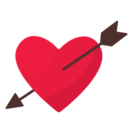Valentine arrow heart flat Transparent PNG