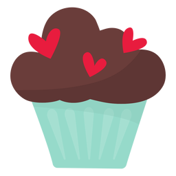 Cupcake de San Valentín plano