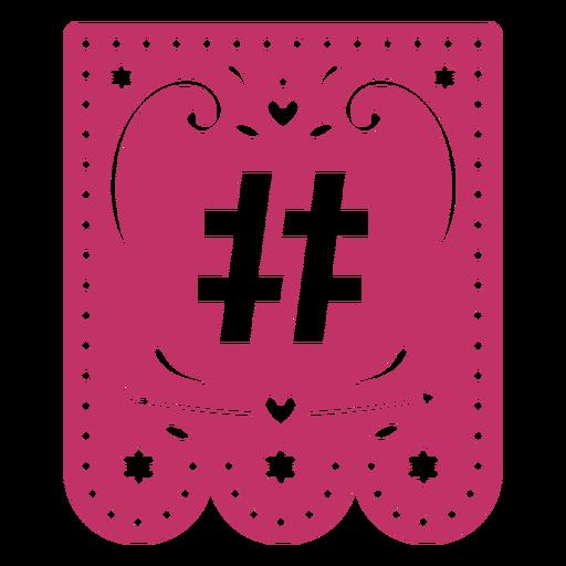 Valentine garland papercut sharp # sign