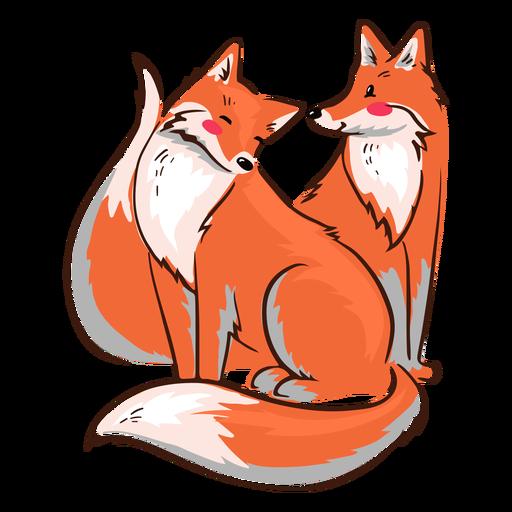 San Valentín zorros felices