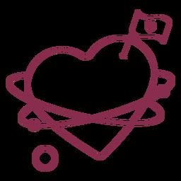 Bandera de San Valentín corazón planeta