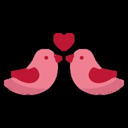 Valentine love birds flat