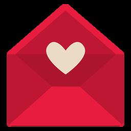 San valentin carta roja plana