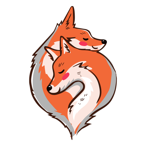 Valentine snuggling foxes