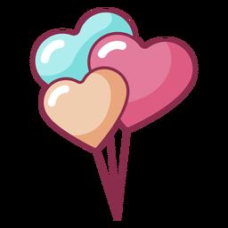 San Valentín tres globos de colores