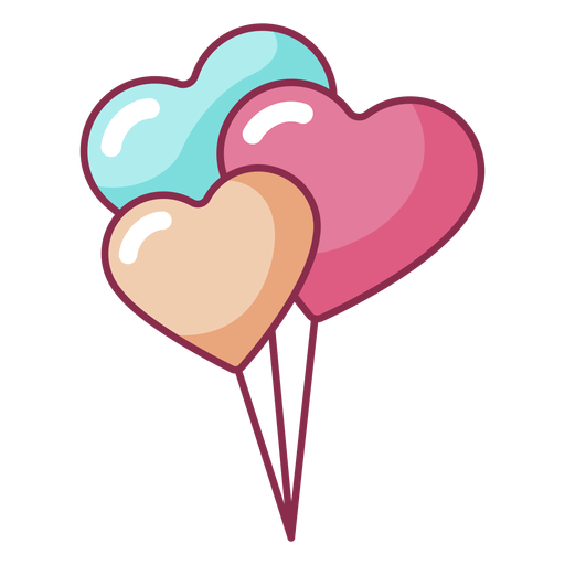 Valentine three balloons colored Transparent PNG