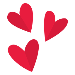 San Valentín tres corazones planos