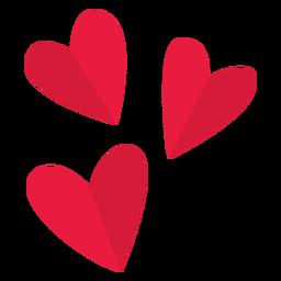 Valentine três corações plana