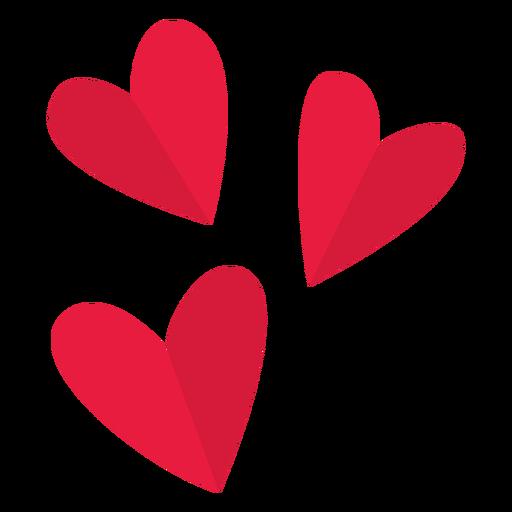San Valentín tres corazones planos Transparent PNG