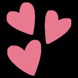 San Valentín tres corazones rosa