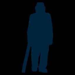 Silueta de hombre senior caminando